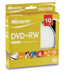 DVD+RW Memorex cake box 10ks , 4x, 4,7GB
