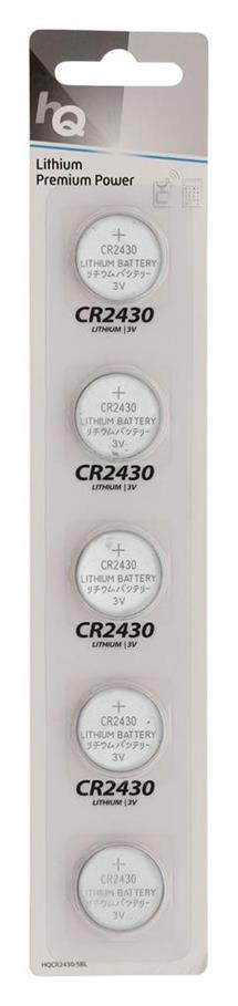 HQ lithium button cell CR2430 battery 3 V, 5-blister