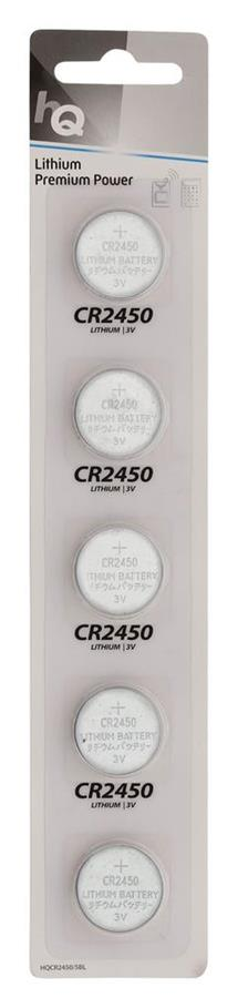 HQ lithium button cell CR2450 battery 3 V, 5-blister