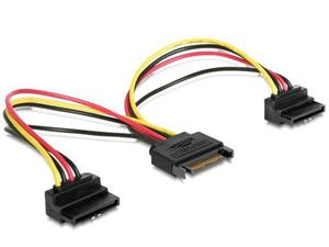 Gembird cable power SATA 15 pin -> 2x SATA HDD (angled connectors)
