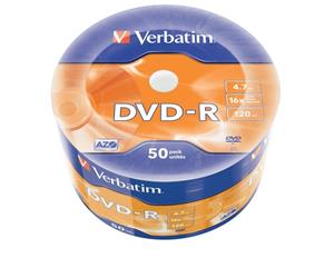 Verbatim DVD-R [ spindle 50 | 4.7GB | 16x | Matt Silver | AZO ]