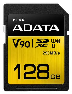 ADATA 128GB Premier ONE SDXC UHS-II U3 Class 10, R/W up to 290/260 MB/s
