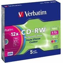 CD-RW Verbatim [ slim jewel case 5 | 700MB | 12x | Colour ]