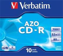 CD-R Verbatim [ jewel case 10 | 700MB | 52x | Crystal | DataLife+ AZO ]