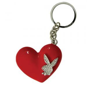 PRIME Playboy Keyring - Red Heart with Bling RHD