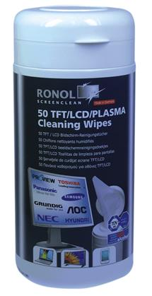 RONOL TFT/LCD/Plasma 50 moist cleaning wipes in dispnser (10013)