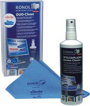 RONOL DUO CLEAN PC-Version 125ml LCD/TFT ScreenCleaner + 1x Vileda Professional micro fibre cloth (10020)